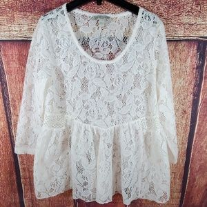 Vintage America Super Kitten Soft Lace Top